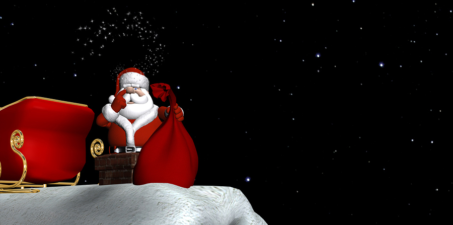 Santa using magic to go down a chimney with his bag of gifts