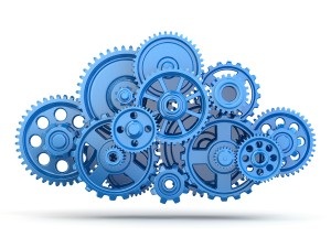 Cloud computing from gears on white isolated background. 3d