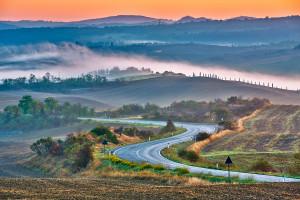 Tuscany landscape at sunrise, Italy